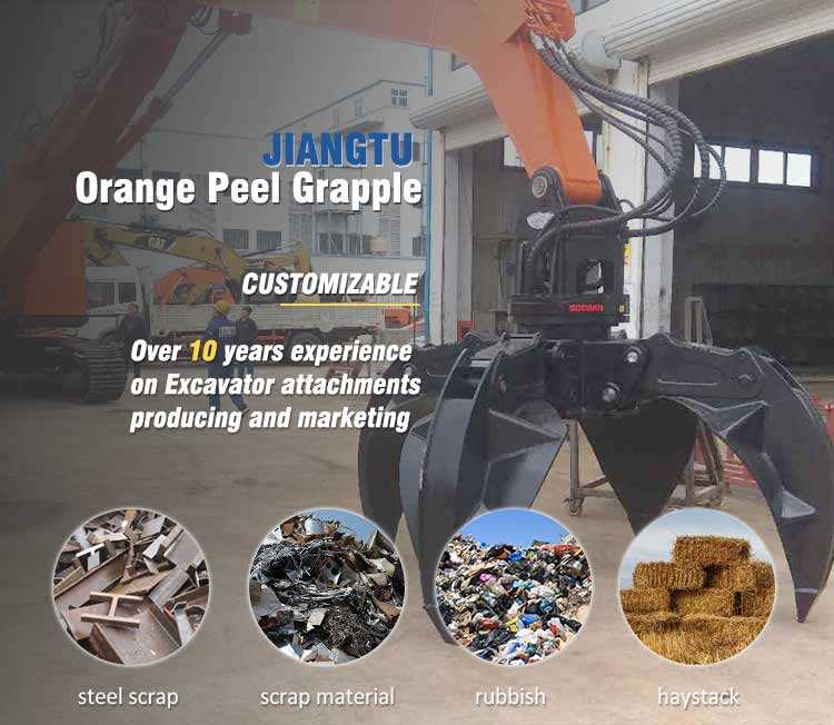 excavator scrap grapple orange peel grabber manufacturer