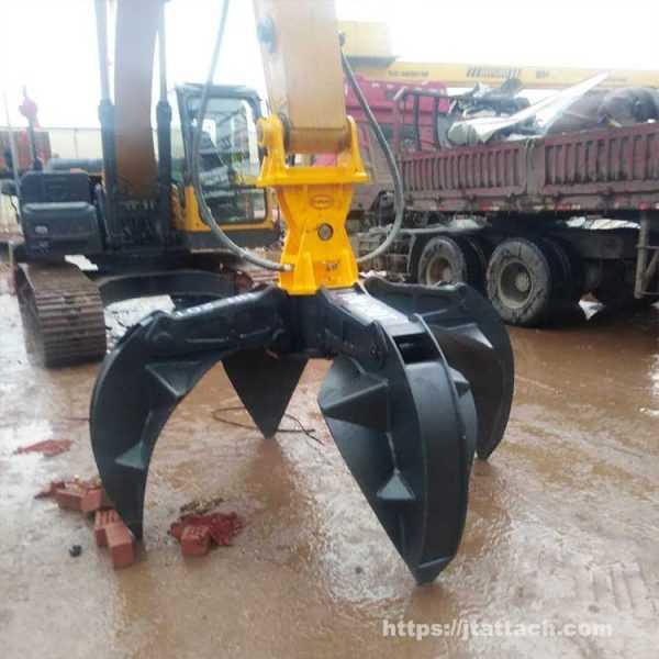 4 tine orange peel grapple scrap metal for excavator