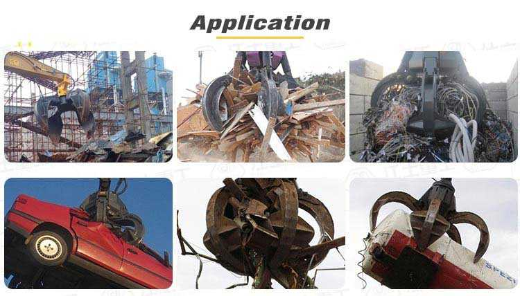 excavator orange peel grapple lifting a car steel scrap application