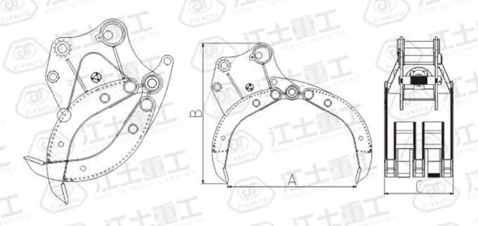 hydraulic-grab-for-excavator-drawing