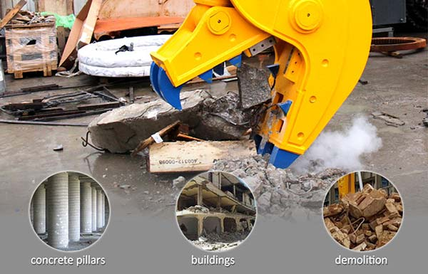 hydraulic-pulverizer-excavator-application-JIANGTU-demolition-attachments
