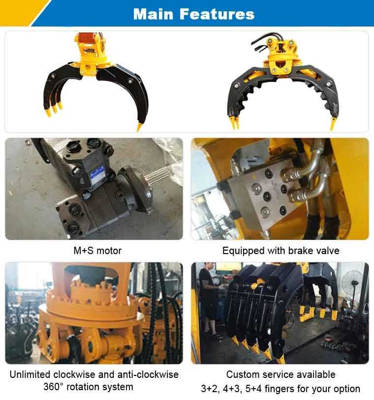 Features of rotating stone grapple,hydraulic stone excavator grab