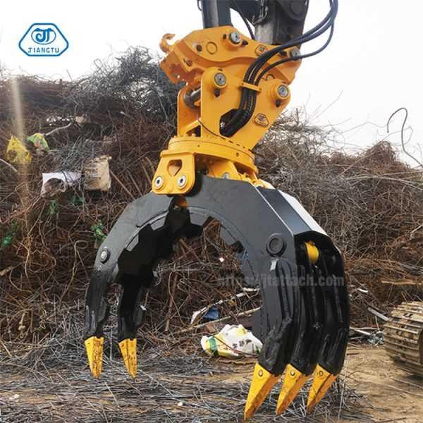 mini excavator rock grab,stone grapple machine,steel attachments for stone