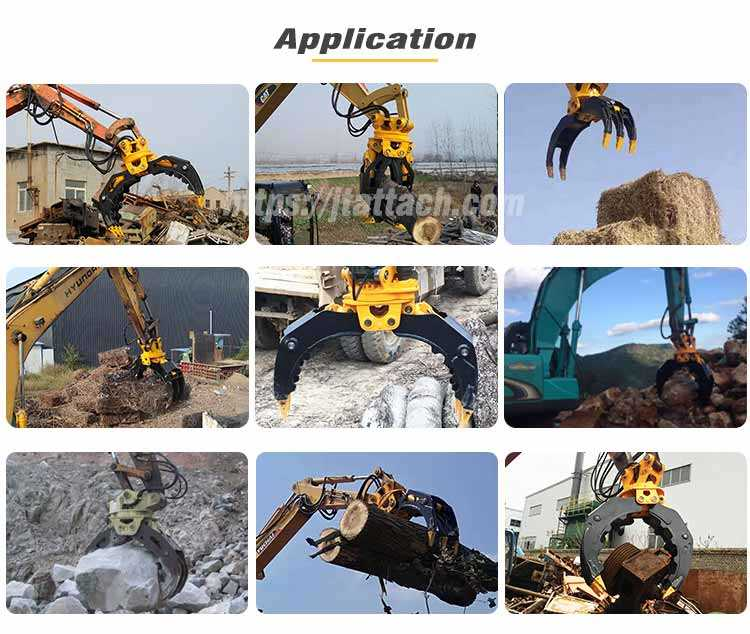 wood log timber handing moving felling organizing applications of Excavator Log Grapple