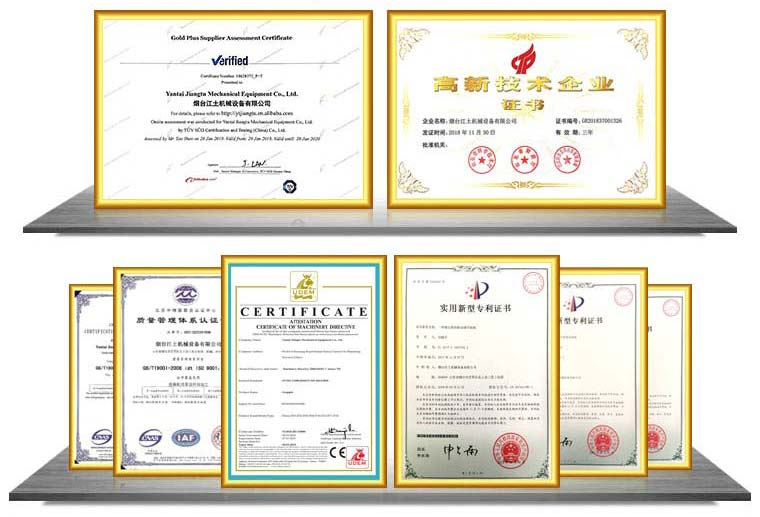Certificate of JIANGTU excavator attachments