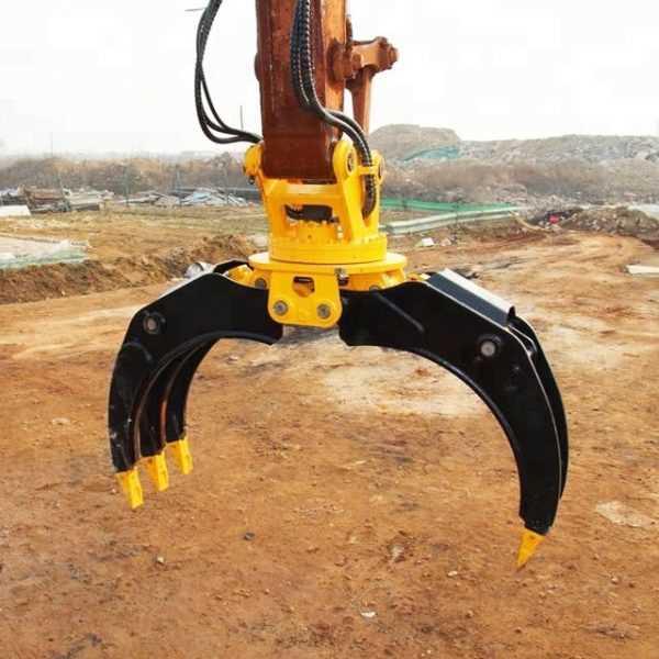Best Excavator hydraulic rotary Log Grapple/grabber for sale-JIANGTU Excavator logging Attachments