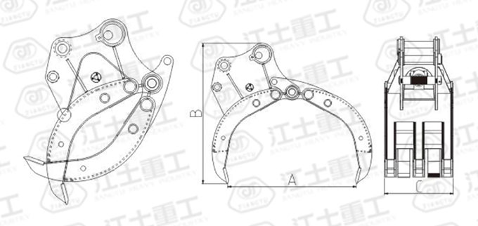 hydraulic-rock-grab-for-excavator-drawing