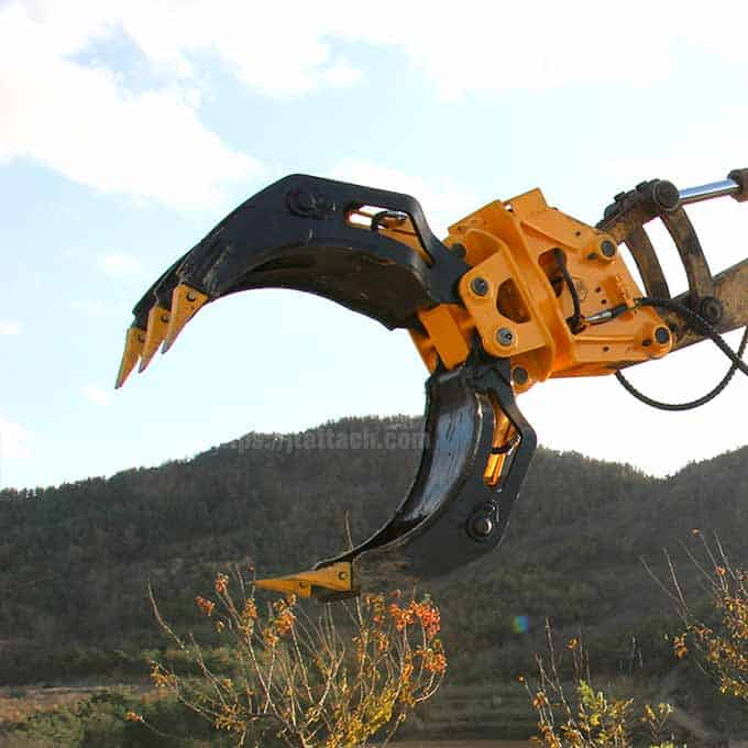 hydraulic rotating log grab/grapple for mini excavator for sale in China-JIANGTU mini excavator attachments