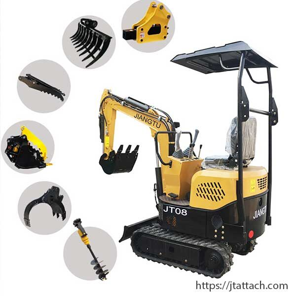 small-excavator-with-log-grapple-thumb-bucket-breaker-auger