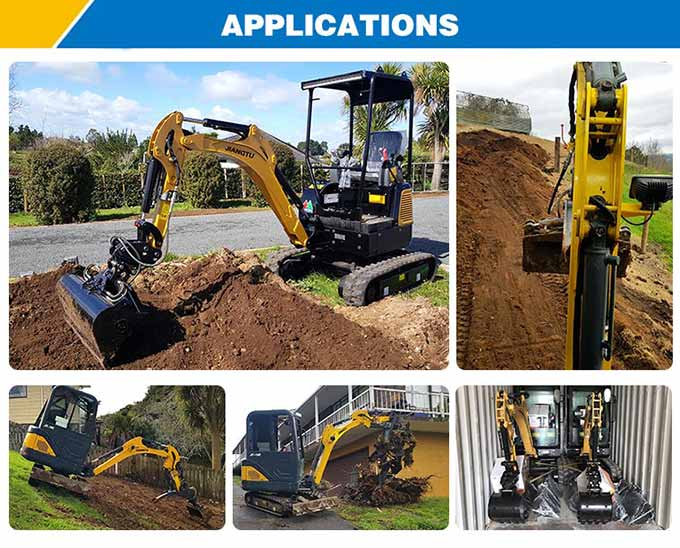 very-small-excavator-at-work- garden-uses -working-on-building-site