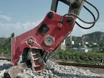 Excavator-With-hydraulic-concrete-pulverizer-for-Concrete-On-Construction-Site