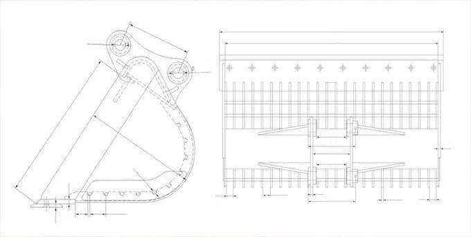 skeleton bucket for excavator JIANGTU excavator skeleton bucket drawing